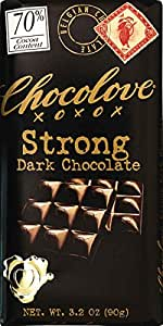 Chocolove Chocolate Bar, 70% Strong Dark, 3.2 Ounce (Pack of 12)