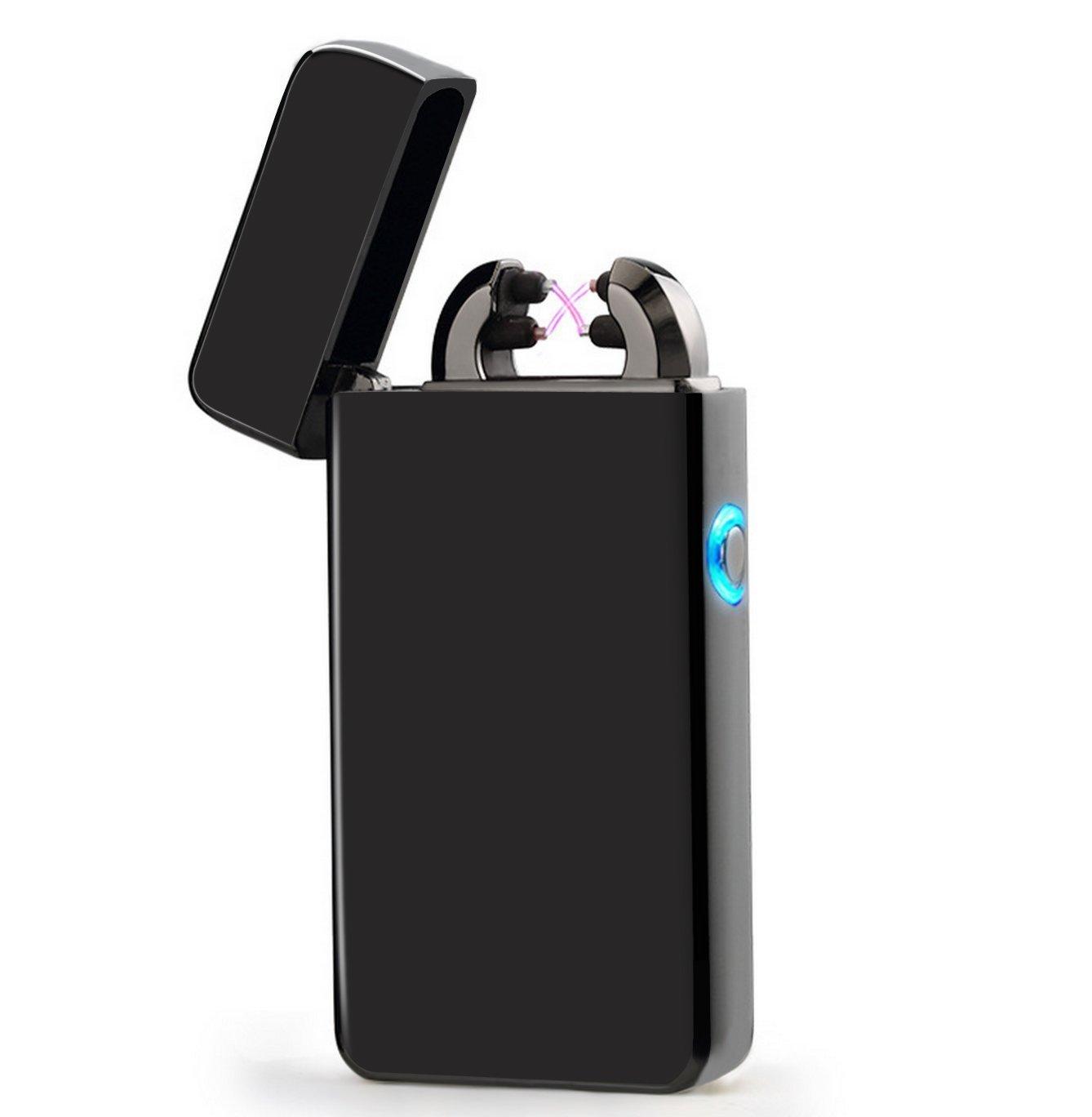 Lichtbogen Feuerzeug, USB Elektronisches Feuerzeug Dual Lichtbogen Aufladbar winddicht Flammenlose-Von Kepooman (Schwarz)