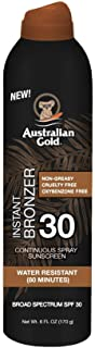 product image for Australian Gold Continuous Spray Sunscreen with Instant Bronzer SPF 30, 6 Ounce | Immediate Glow & Dries Fast | Broad Spectrum | Water Resistant | Non-Greasy | Oxybenzone Free | Cruelty Free