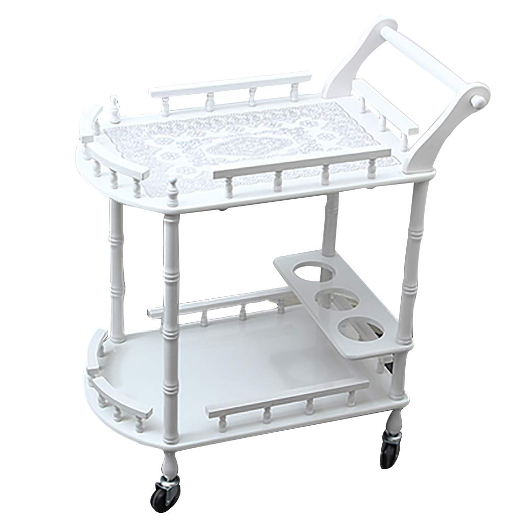 White+A Service Cart Bar Wine Serving Trolley with 3 Wine Rack,Kitchen Island Storage Trolley 3 Tier Dining Cart with Wheels for Family Hotel Restaurant Upscale Club