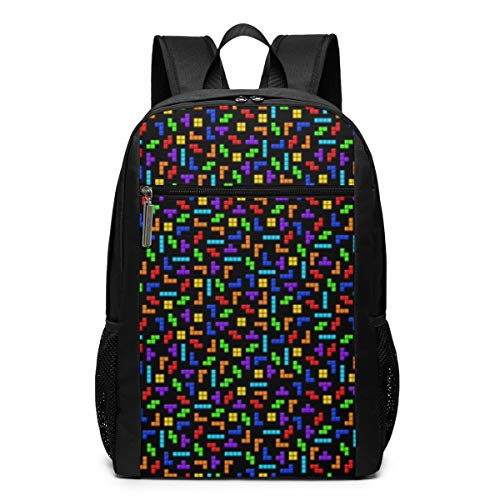 Schoolman Tetris Squares On Black Unisex Laptop Backpack,Business Travel Computer Bag for Women and Men,School Backpack Classic Lightweight Resistant Backpack17 Inch Black