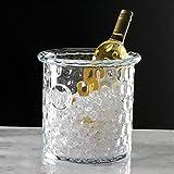 Honeycomb Thumbprint Thick Art Glass Ice Bucket | European Wine Chiller Cooler