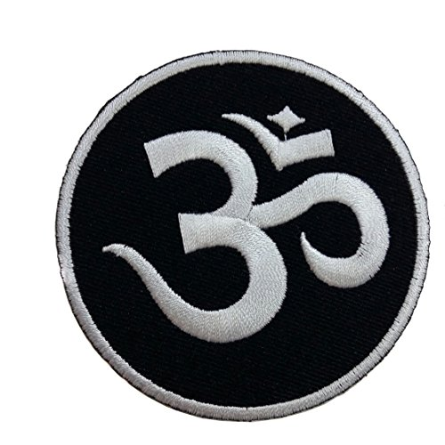 Aum Om Ohm Hindu Yoga Indian Lotus Lucky Sign Logo Hippie Retro Biker Jacket T-shirt Vest Patch Sew Iron on - Embroidery Sign Peace