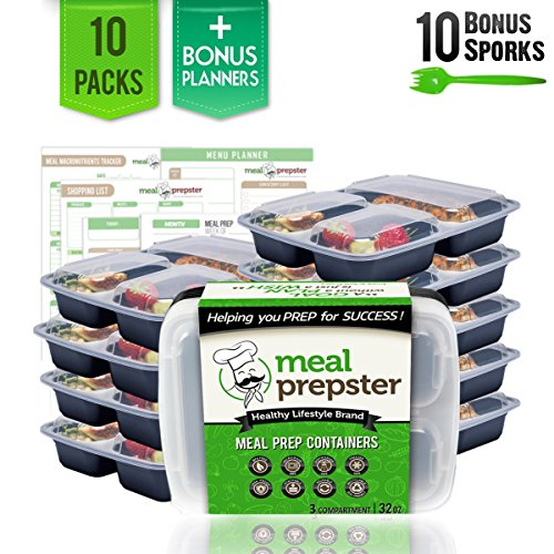Bento Box 3 Compartment Meal Prep Containers w/ Clear Lids (10 Pack, 32 oz) - Reusable, Stackable, Airtight, Plastic Food Storage Containers - Certified BPA-Free [Incl. 10 Sporks + Printable Planners]