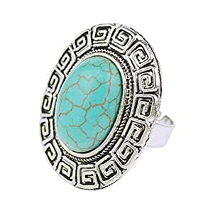 Silver Plated with Round Shaped Blue Stone Ring, Adjustable Rings Vintage Fashion Jewelry for Women
