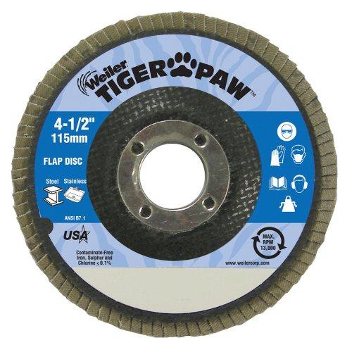Weiler 51109 Tiger Paw High Performance Abrasive Flap Disc, Type 27 Flat Style, Phenolic Backing, Zirconia Alumina, 4-1/2