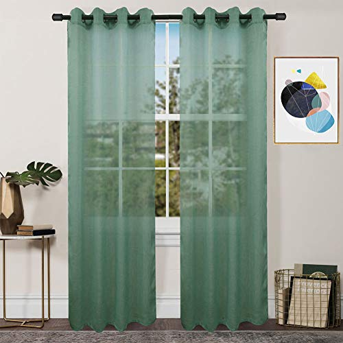FY FIBER HOUSE Luxurious Faux Linen Sheer Curtains for Living Room with Grommets Top, 2 Panels,54 by 63-Inch, Green