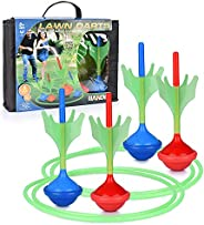 Lawn Darts Game – Glow in The Dark, Outdoor Backyard Toy for Kids & Adults   Fun for The Entire Family   W