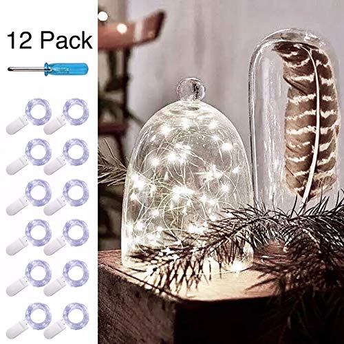 12 Pack LED String Lights Battery Powered(Included),20 LED Starry Fairy Lights,6.6FT/2M Silver Wire,LED Firefly Lights For DIY Wedding Centerpiece,Christmas,Table,Party Decoration(Cool White)