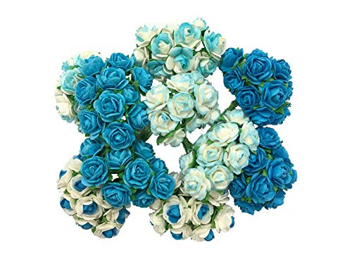 100 Mixed Blue Tone Color 10 mm Artificial Mulberry Paper Mini Rose Flower Wedding Scrapbook Diy Craft Scrapbook Bouquet Craft Stem Handmade Rose Valentines Anniversary Embellishment Mini Paper Flower