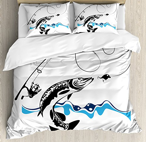 Fishing Duvet Cover Set King Size by Ambesonne, Big Pike Fish Catching Wobblers Reel Trap in River Raptorial Predator Hunting Print, Decorative 3 Piece Bedding Set with 2 Pillow Shams, Black Blue (Hunting Decor For Kids Room)