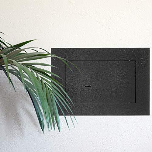 chiusura con serratura a chiave a doppia mappa in acciaio blocco chiusura a 2 chiavistelli ripiano interno HomeDesign cassaforte da incasso HomeDesignSafe HDW-1000 grigio antracite.