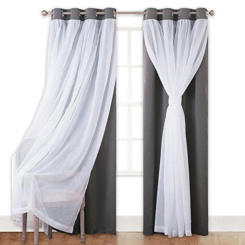 Cheap PONY DANCE Blackout Curtains with Sheer Drapes – Mix & Match Voile Tulle Grommet Top Window Treatments Home Decoration for Girls' Bedroom, 52″ W x 63″ L, Grey, 2 Panles
