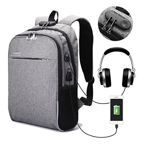 chollos oferta descuentos barato CAMTOA Zaino Porta Computer da 15 6 inch Laptop Backpack con Serratura Port di Ricarica USB Cuffie Jack Zaino da Lavoro Protezione Multifunzione per Business Affari Casual Viaggio Outdoor
