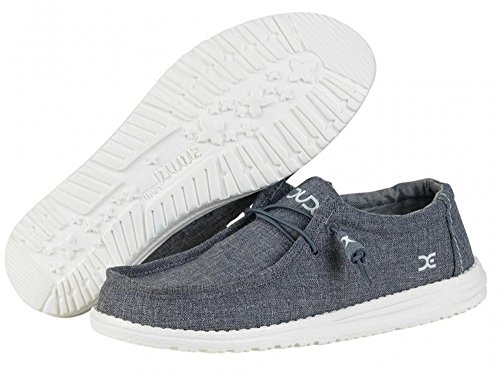 Hey Dude Men's Wally Linen Loafers, Blue, Linen, Canvas, Textile, Memory Foam, 9 US M/EU 42