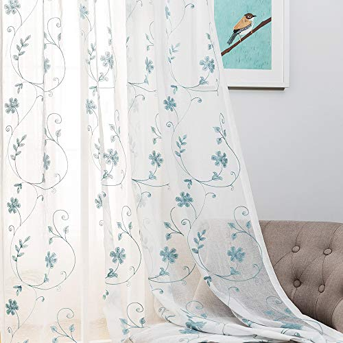 Floral Embroidery Sheer Curtains Blue 63 Inches, Rod Pocket Voile Drapes for Living room, Bedroom, Window Treatments Semi Crinkle Curtain Panels for Yard, Patio, Villa, Parlor, Set of 2, 52