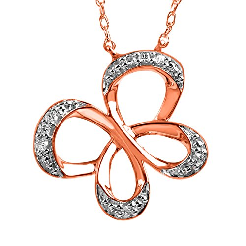 Jessica Simpson Butterfly Necklace (10K Rose Gold Diamond Accent Jessica Simpson Butterfly Pendant)