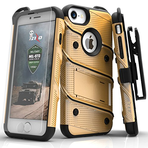 Zizo Bolt Series Compatible with iPhone 8 Case Military Grade Drop Tested with Tempered Glass Screen Protector, Holster iPhone 7 case Gold Black