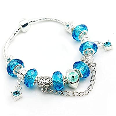Bamoer Christmas' Day Gifts European Hot Fashion Style Blue Murano Glass Beads Charm Beaded Complete Silver Plated Diy Charm Bracelets with Barrel Snap Clasp for Women Teen Girls( 7.8inch/20cm )