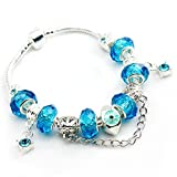 Bamoer European Fashion Blue Murano Glass Beads Charm Beaded Complete Silver Plated Bangle Bracelets for Teen Girls Women( 7.8inch/20cm )