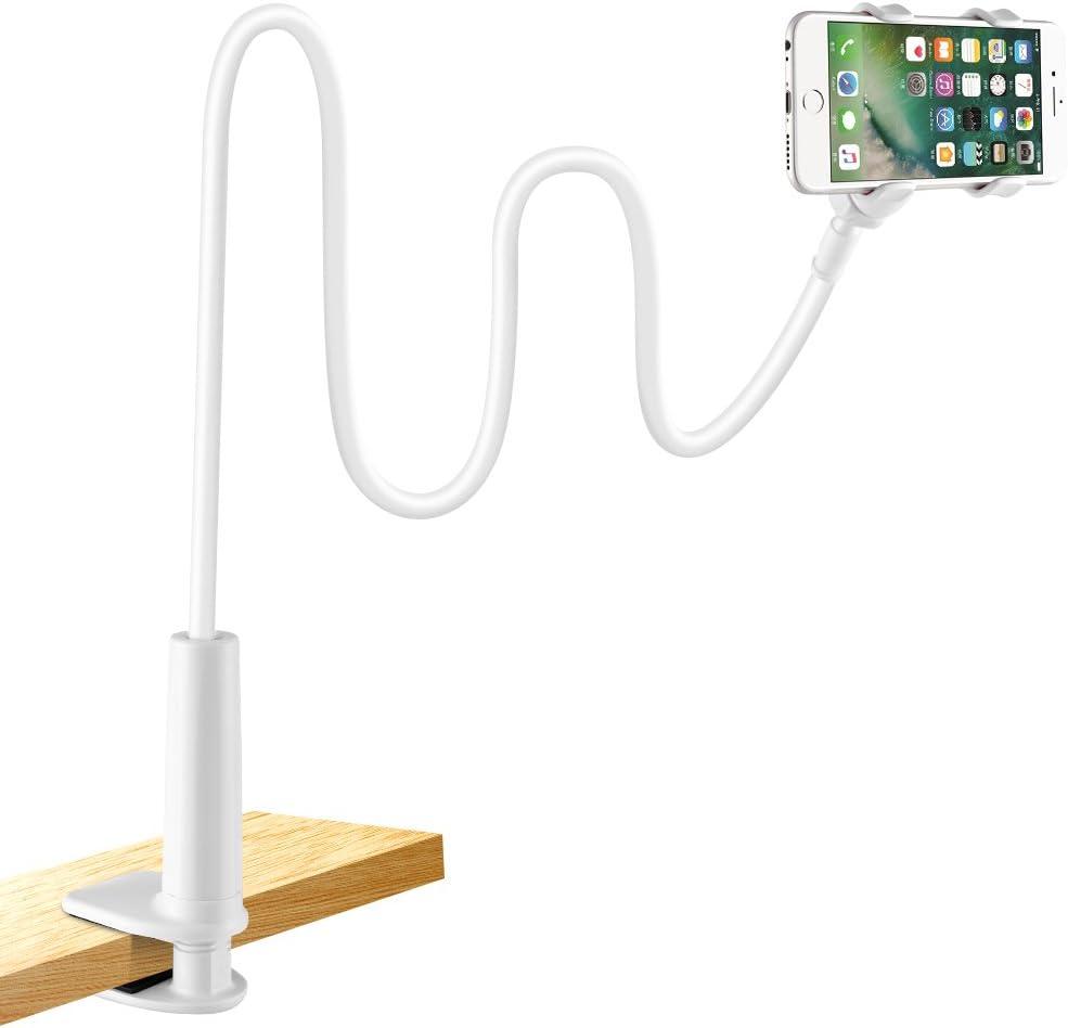 Soporte para teléfono móvil, lonzoth Teléfono Móvil Soporte Cuello de cisne Soporte universal Soporte para iPhone Smartphone Teléfono Móvil (Phone Stand|White)