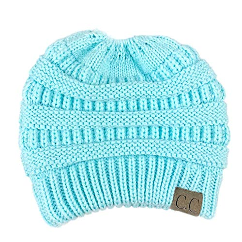 cca94db73 CC Ponytail Beanie Hat Women Crochet Knit Cap Winter Skullies - Import It  All