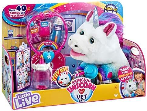 Little Live Rainglow Unicorn Vet Set - Interactive Pet Unicorn