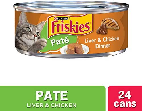 Purina Friskies Pate Wet Cat Food, Liver & Chicken Dinner - (24) 5.5 oz. Cans