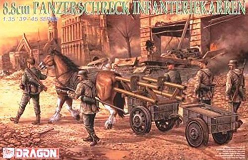 Platz 1/35 No. second world war Germany army marching soldier w / panzerschreck & trailer plastic model DR6104 by Platz