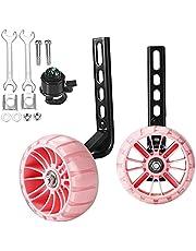 Meiya Träningshjul blixt tyst hjul cykel stabilt monterat kit kompatibelt för cyklar av 12 14 16 40 cm, 1 par (rosa1)