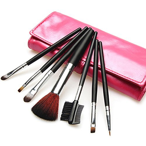 7pcs Makeup Brushes Sets Foundation Eyeshadow Brusher Brush + Leather Case (Rose Red) by Broadfashion