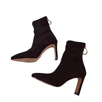 SFSYDDY Zapatos Populares/Slim Botas con Alto 8Cm Calcetines Botas Sharp Cabezas Delgada Elástica Botas De Moda Plaza Chistes Tacones Botas Cortas.