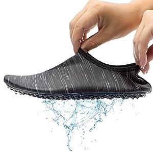 CASMAG Men Women Water Shoes Barefoot Aqua Socks For Yoga Beach Swim Pool Exercise Black M:10.5-11.5