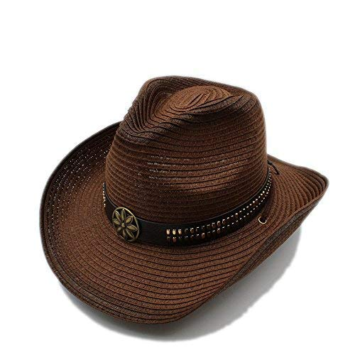 Kinue Home Summer Women Men Straw Hollow Western Cowboy Hat for Gentleman Cowgirl Jazz Church Cap Dad Sombrero Beach Sun Hat Very Soft by Kinue