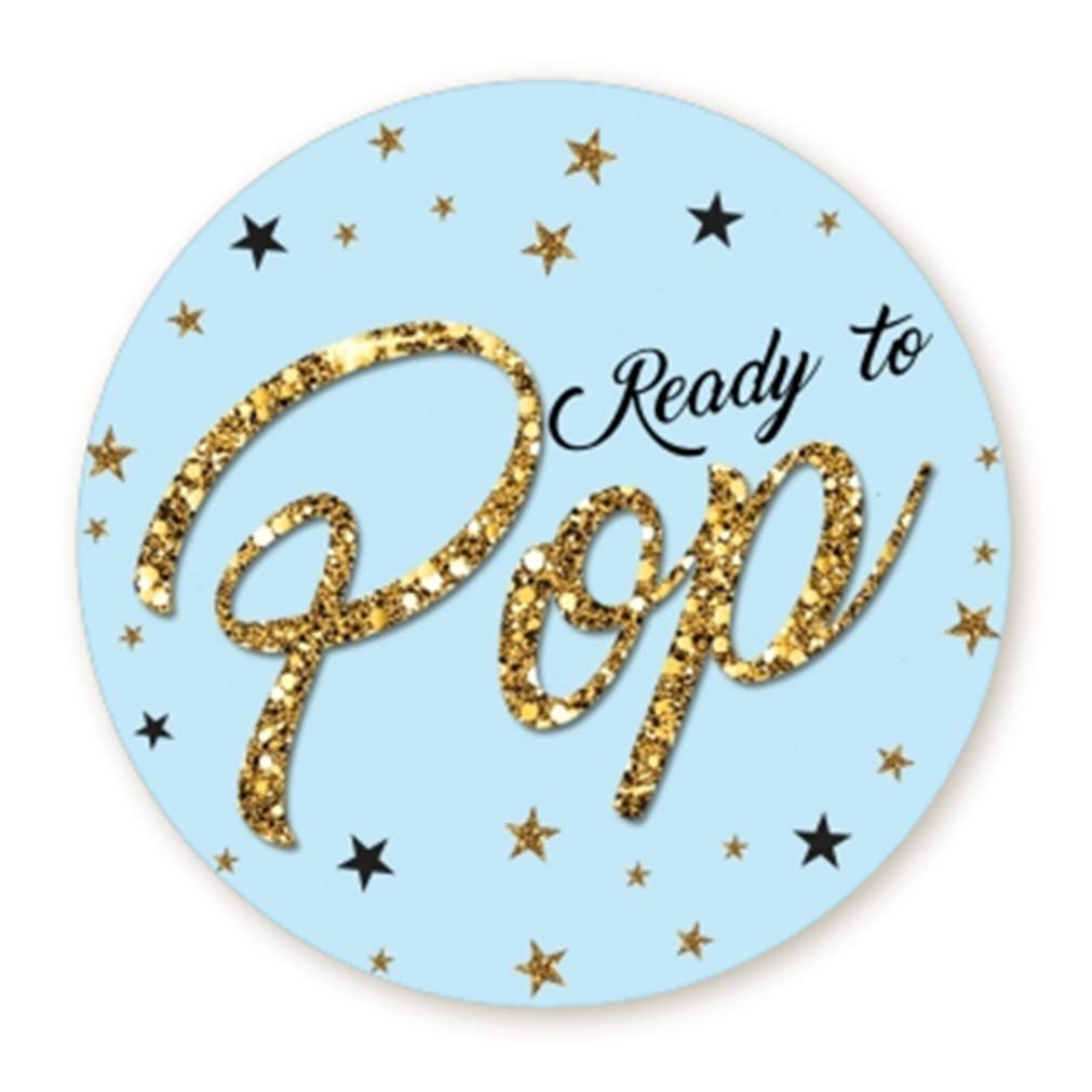 Ready To Pop Stickers Faux Glitter Ready To Pop Baby Shower Stickers For Popcorn Ready To Pop Stickers For Boy And Girl Blue 1 67 Buy Online In Bosnia And