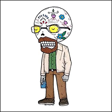 Breaking bad walter white inspired calavera die cut clear vinyl sticker sugar skull day of