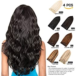 """GEELOOK Double Weft 100% Remy Human Hair Clip in Extensions 20"""" Grade 7A Quality Thick Long Soft Silky Straight 4 Pieces 10 Clips for Women 70grams Darkest Brown #2 Color"""