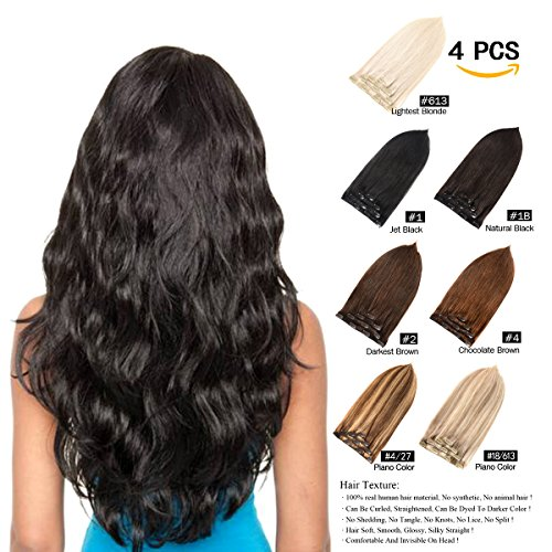"""GEELOOK Clip in Hair Extensions 16"""" Double Weft 100% Remy Human Hair Grade 7A Quality Thick Long Soft Silky Straight 4pcs 10clips for Women 70grams Ash Blonde/Lightest Blonde #18/613 Color"""