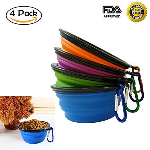 Collapsible Dog Cat Bowl 4 Pack Silicon Travel Pet Food Water Feeding Bowls Set BPA Free FDA Approved Zero Aftertaste Portable and Foldable Cup Dish For Sale