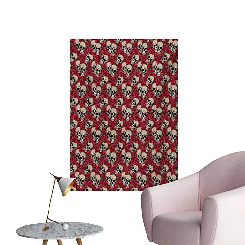 Anzhutwelve Rose Photographic Wallpaper Graphic Skulls and Red Rose Blossoms Halloween Inspired Retro Gothic PatternVermilion Tan Green W32 xL36 Wall Poster