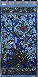 Tree of Life Tab Top Curtain-Drape-Door Panel-Blue For Sale