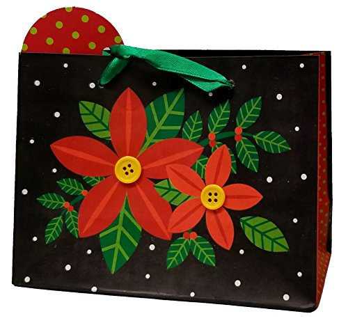 Christmas Small Gift Bags with Embellishments, 10 Pack