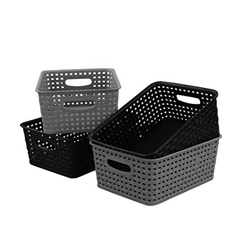 Begale Plastic Storage Basket for Household Organization, Set of 4 by Begale