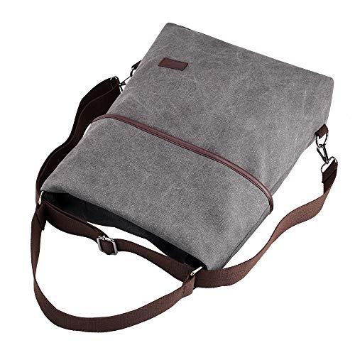 Bolso Hombro Daypack Niña Lona gris Bolsos Para Mochila Bandolera Gris Casual Shoppers Cgboom De Vintage Mujeres 08URBAq8