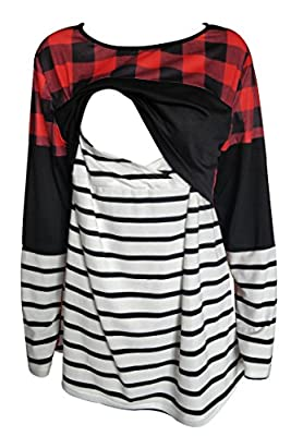 chulianyouhuo Women's Breastfeeding and Nursing Long Sleeves Red Buffalo Plaid Splicing Striped Shirt Tops Clothes