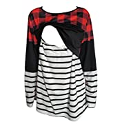 Amazing Speed Women's Maternity Nursing Tops Red Buffalo Plaid Breastfeeding Clothes (M, Red)