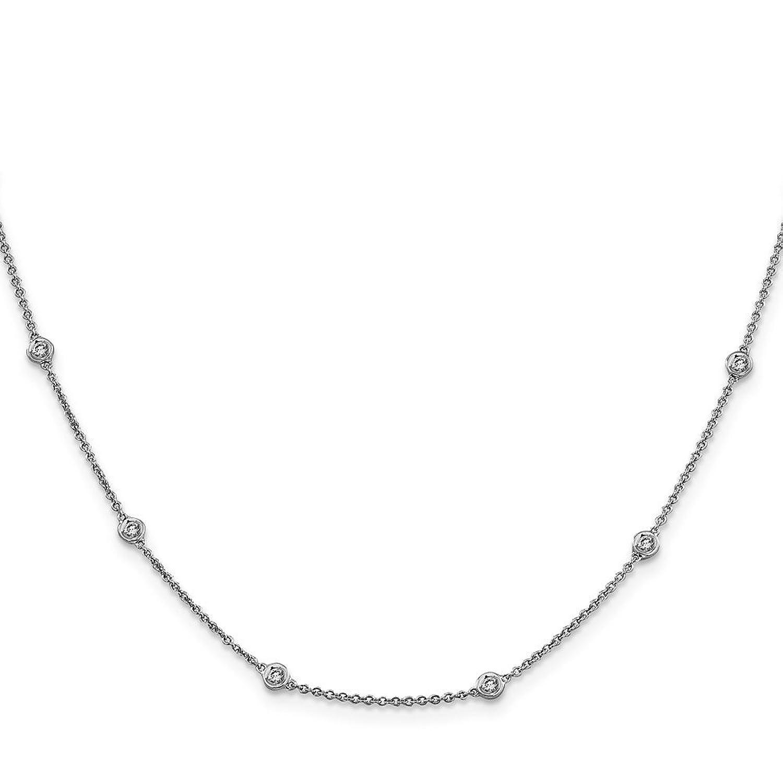 "0.37ctw. 14k White Gold Diamond Rolo Anklet - 9"""