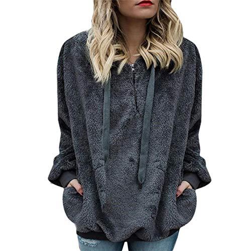 TnaIolr Women Warm Hoodie Wool Zipper Pockets Coat Winter Coat Sport Sweatshirt Long Sleeve Solid Jacket
