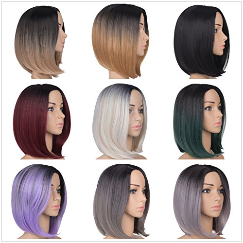 Emmet Short Bob Wig 12 Shoulder Length Soft Silk Synthetic Kanekalon Dark Roots Ombre Color Womens Wigs With Free Wig Cap Free Wig Stand Holder Free Ebook