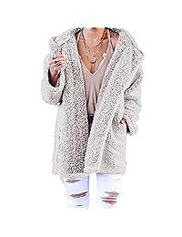 Enjoy-Sexy Outerwear Ladies Soft Teddy Sherpa Fleece Hooded Jumper Hoody with Pocket Coats Jackets